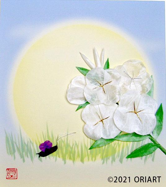 おりがみ花作品「月見草と鈴虫」