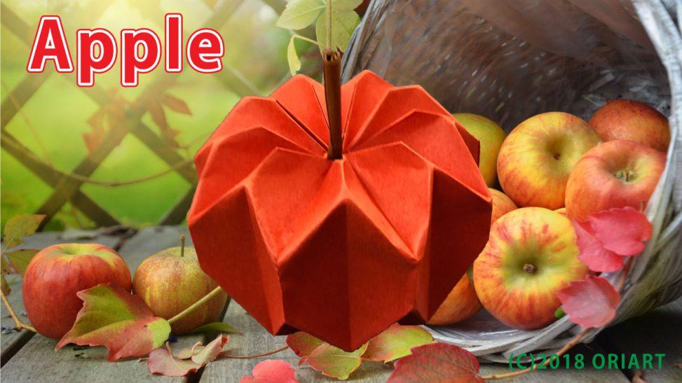 おりがみ食べ物作品「りんご」