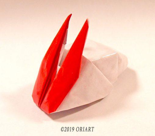 立体折紙作品「うさぎりんごの箸置き」