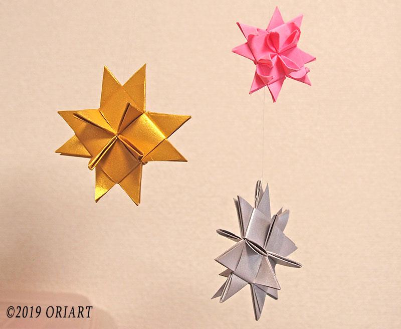 おりがみで作る星形のクリスマスオーナメント