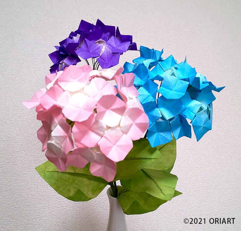 お花の折り紙「アジサイ」