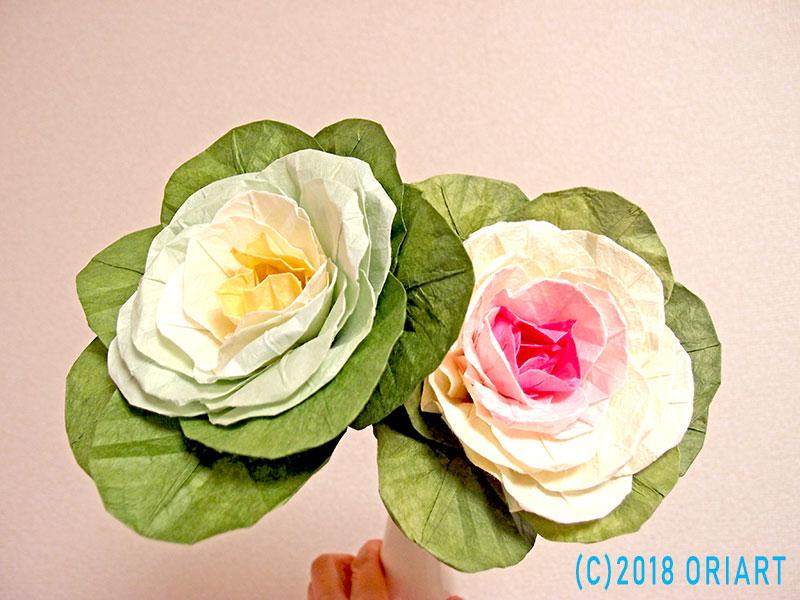 おりがみ立体花作品「葉牡丹」