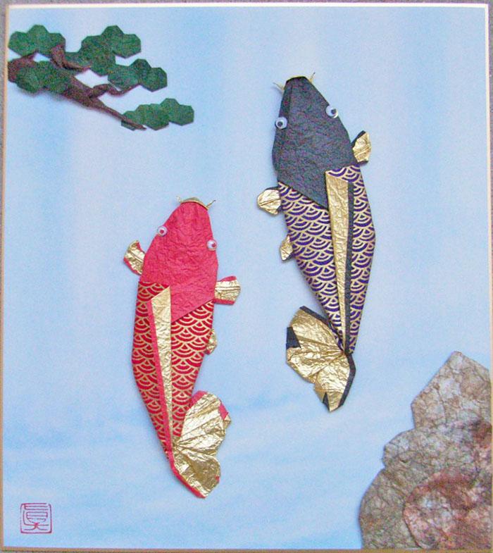 おりがみ色紙作品「鯉の滝登り」