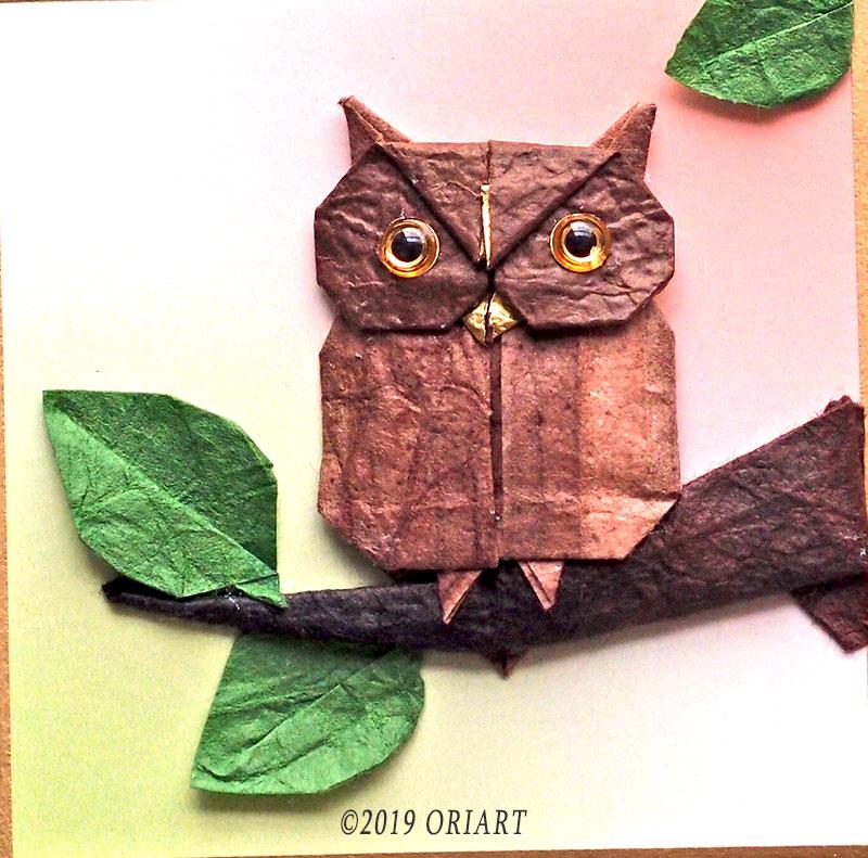 平面折り紙作品「フクロウ」