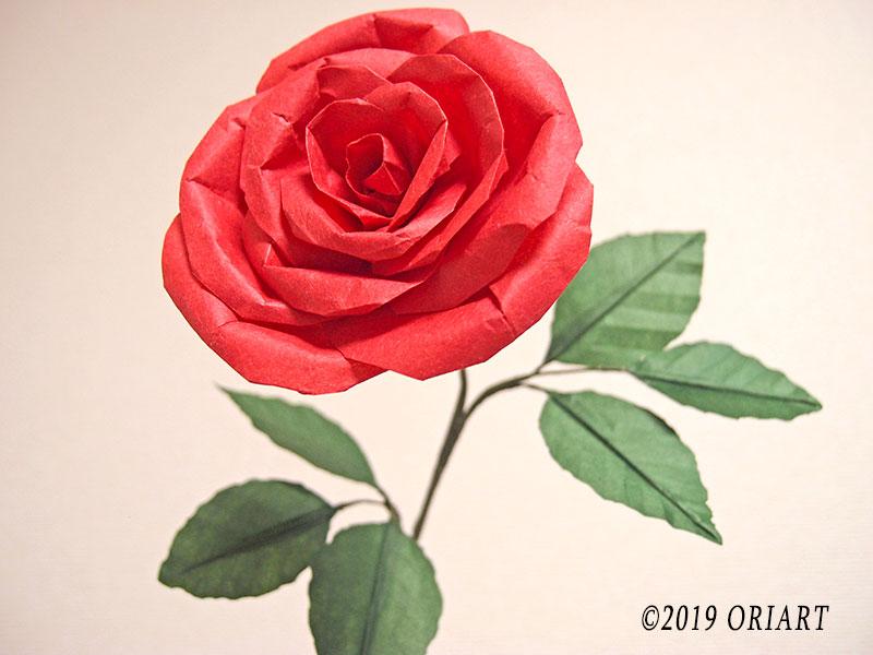 立体花おりがみ「バラ」