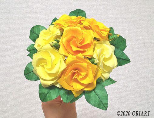 【折り紙】バラのプチブーケ