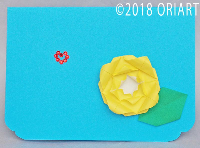 おりがみ立体作品「バラのメッセージカード」