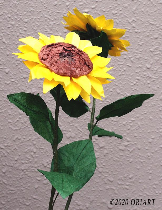 お花の立体おりがみ「ひまわり」の作り方
